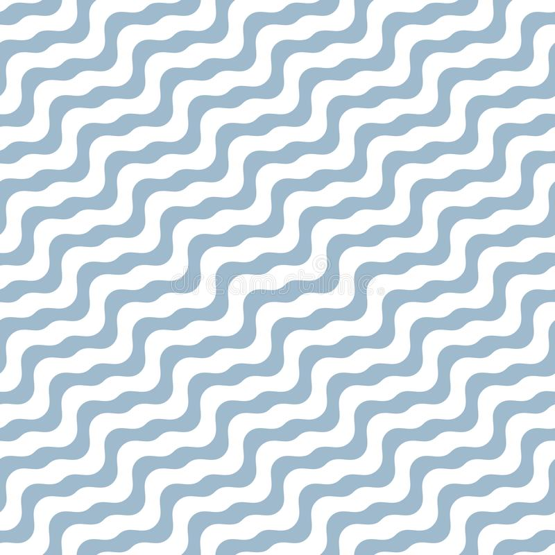 Diagonal wavy lines seamless pattern. Simple white and soft blue background with diagonal waves, stripes, curved shapes. vector illustration