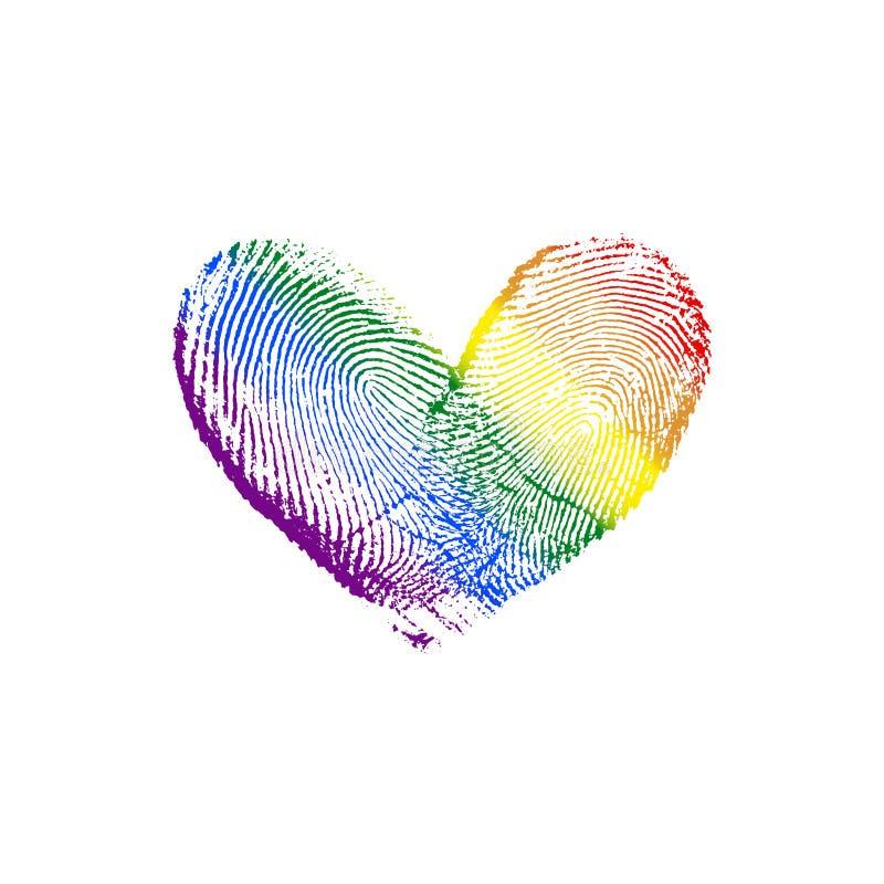 Diagonale dell'arcobaleno del cuore dell'impronta digitale & x28; destra a left& x29; II fotografia stock