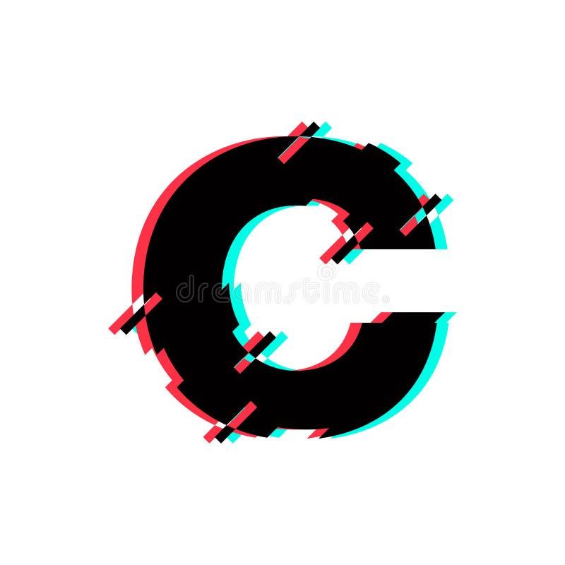 Diagonale di distorsione di impulso errato di Logo Letter C di vettore illustrazione di stock