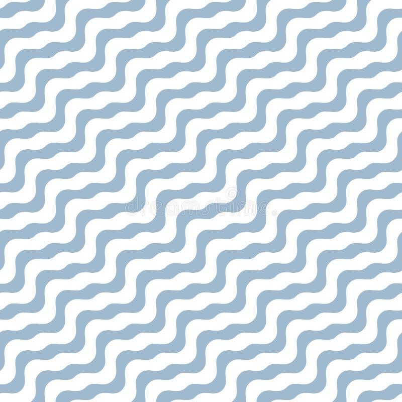 Diagonale gewellte Linien nahtloses Muster Einfacher weißer und weicher blauer Hintergrund mit diagonalen Wellen, Streifen, gebog vektor abbildung