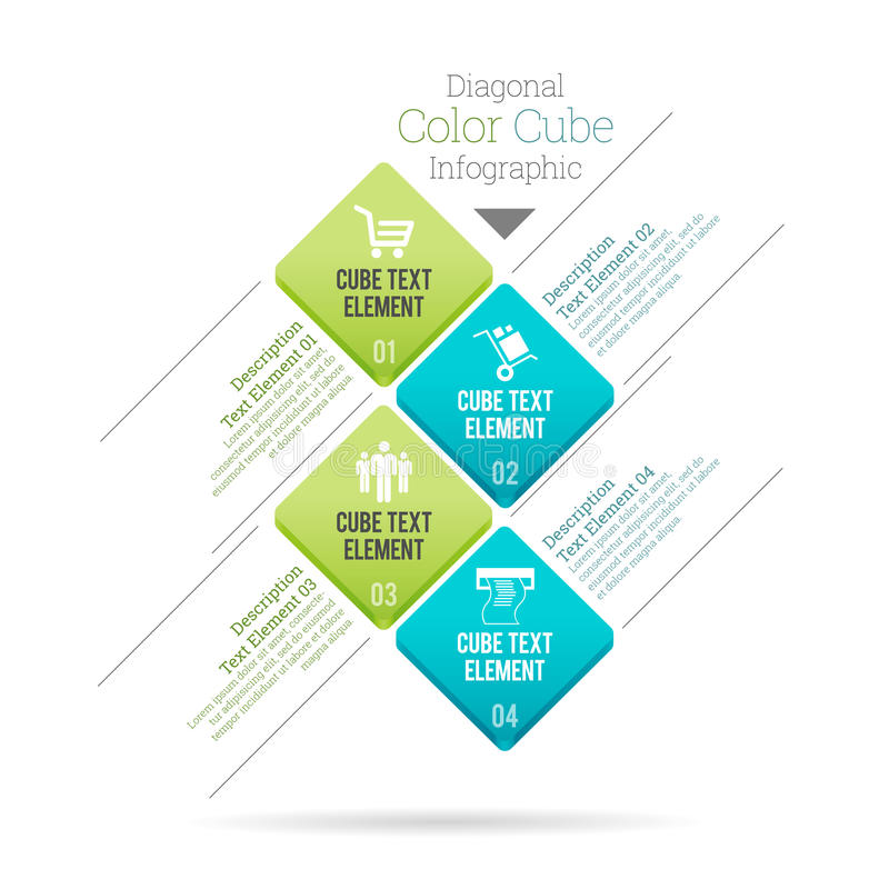 Diagonale Kleurenkubus Infographic royalty-vrije illustratie