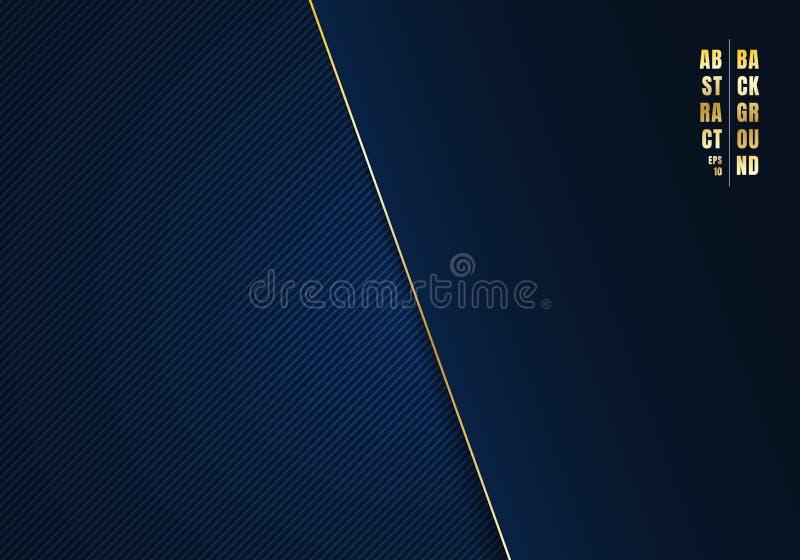 Diagonale Linien der Zusammenfassungsschablone streiften dunkelblauen Hintergrund und Beschaffenheit mit goldener Linie und Raum  stock abbildung