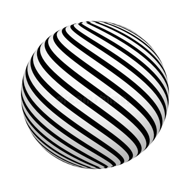 Diagonale Linien Muster Gestreifte Beschaffenheit auf der Ball- oder Bereichform lokalisiert auf weißem Hintergrund Hohes Design  vektor abbildung