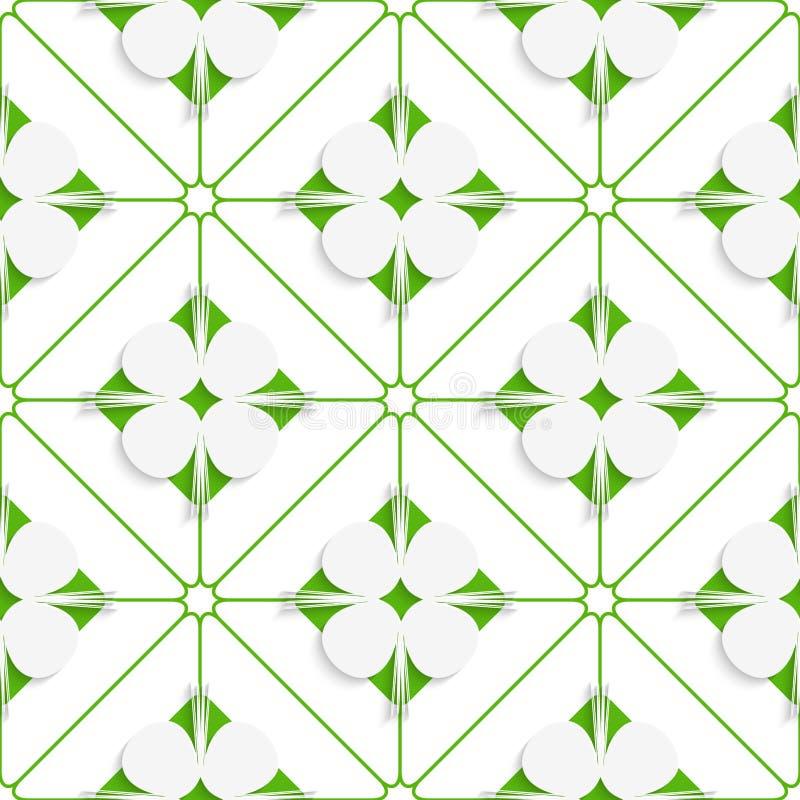 Diagonale Nelkenblätter auf grünem Muster stock abbildung