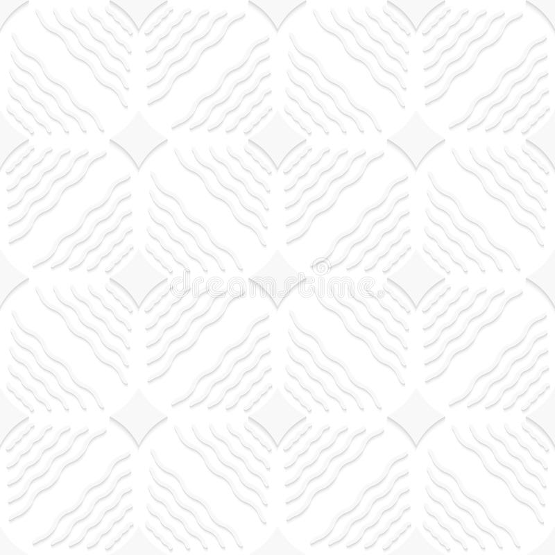 Diagonale weiße gewellte Linien und spitzes Quadratmuster stock abbildung