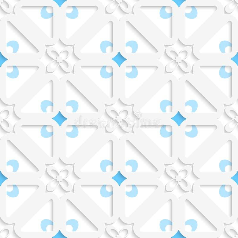 Diagonale weiße kleine Blumen überlagerten mit blauem Muster lizenzfreie abbildung