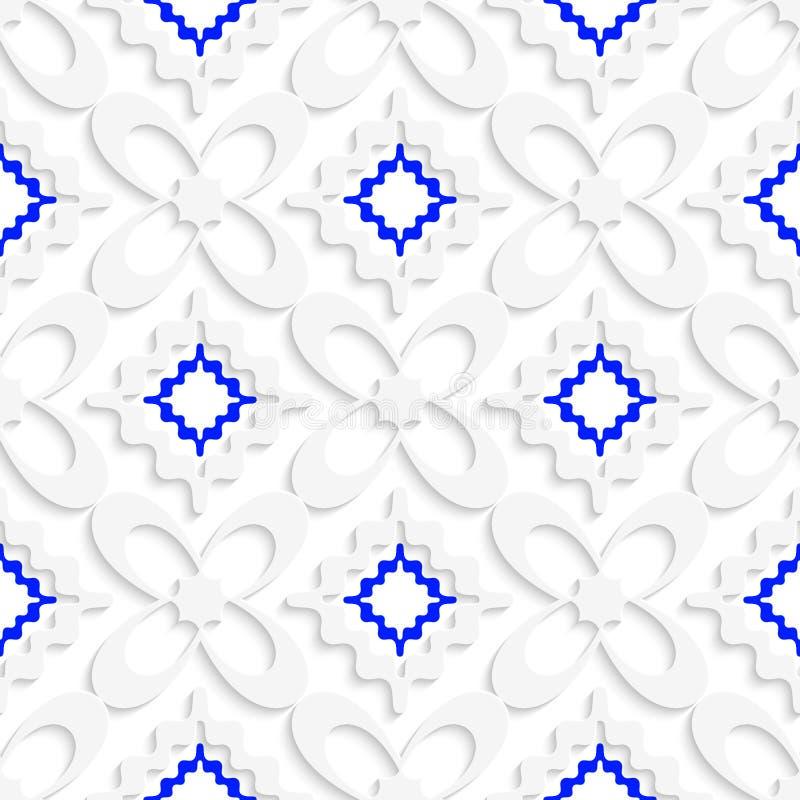 Diagonale weiße und blaue gewellte Quadrate und Blumenmuster stock abbildung