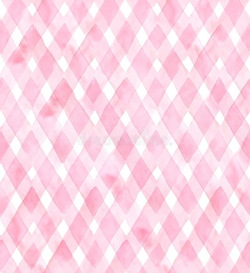 Diagonaler Gingham von rosa Farben auf weißem Hintergrund Nahtloses Muster des Aquarells für Gewebe lizenzfreie abbildung