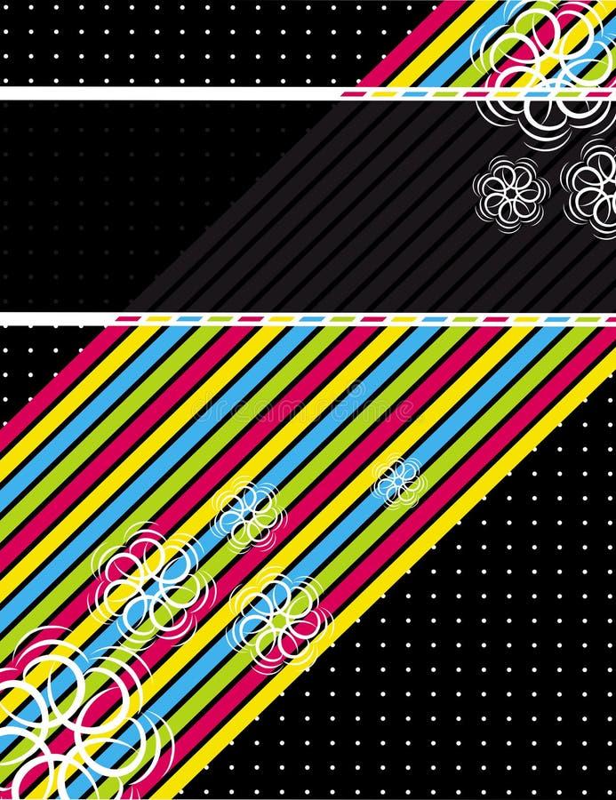 Diagonales del color sobre fondo negro ilustración del vector