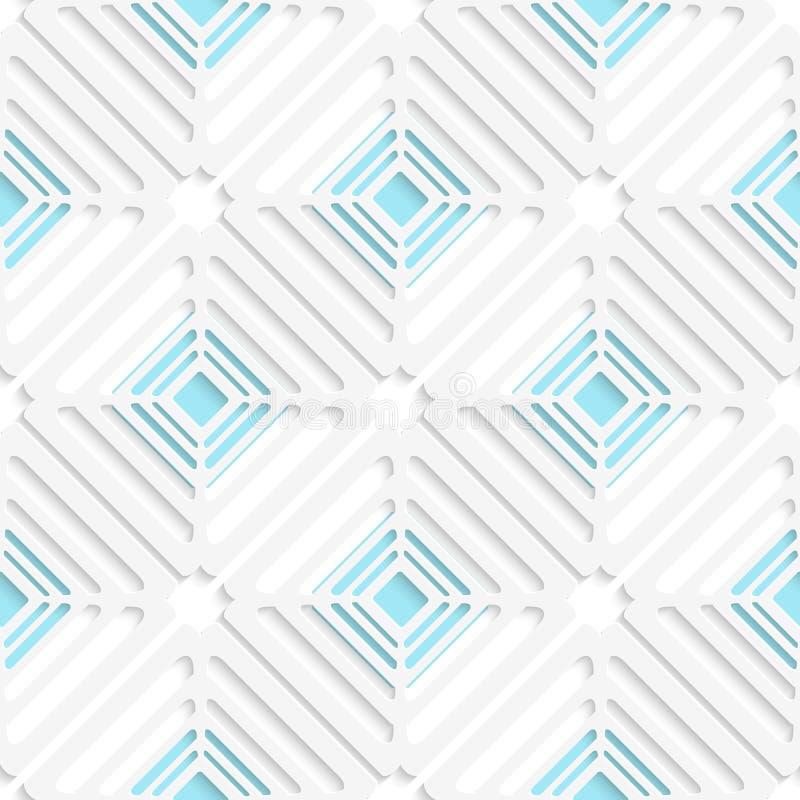 Diagonales Netz des weißen Quadrats und blaues Muster stock abbildung