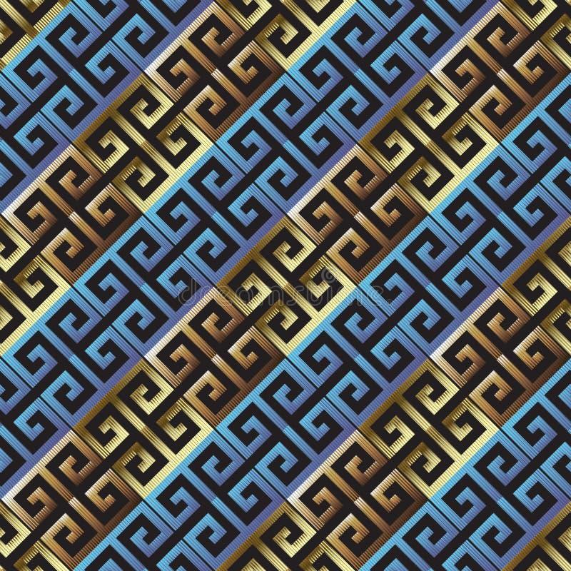 Diagonalny textured grunge 3d grecki wektorowy bezszwowy wzór Pasiasty Kreskowy tło Grungy grka klucza meanderów ornament nowożyt ilustracja wektor