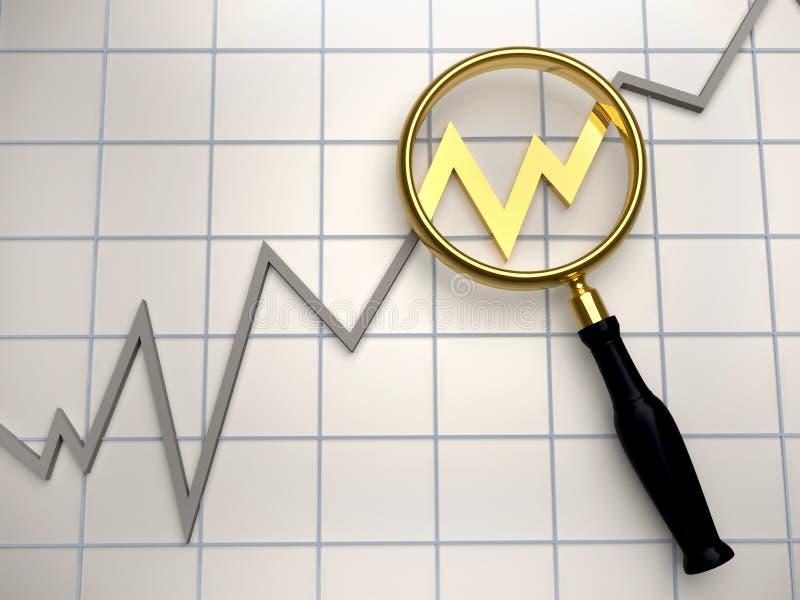 Diagram. Illustration of golden magnifier on business diagram chart - 3d render stock illustration