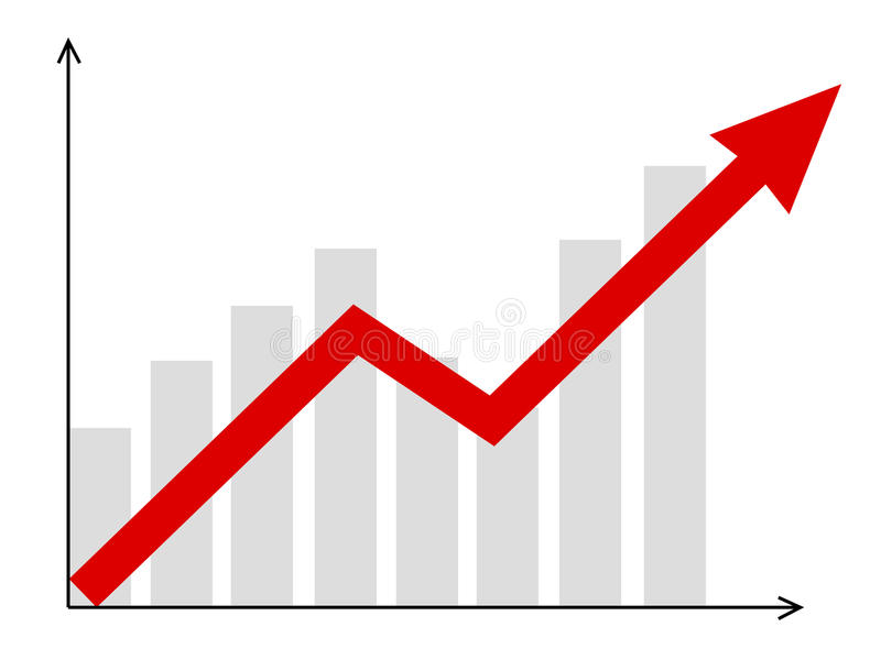 Diagram. Growth diagram with red arrow going up stock illustration