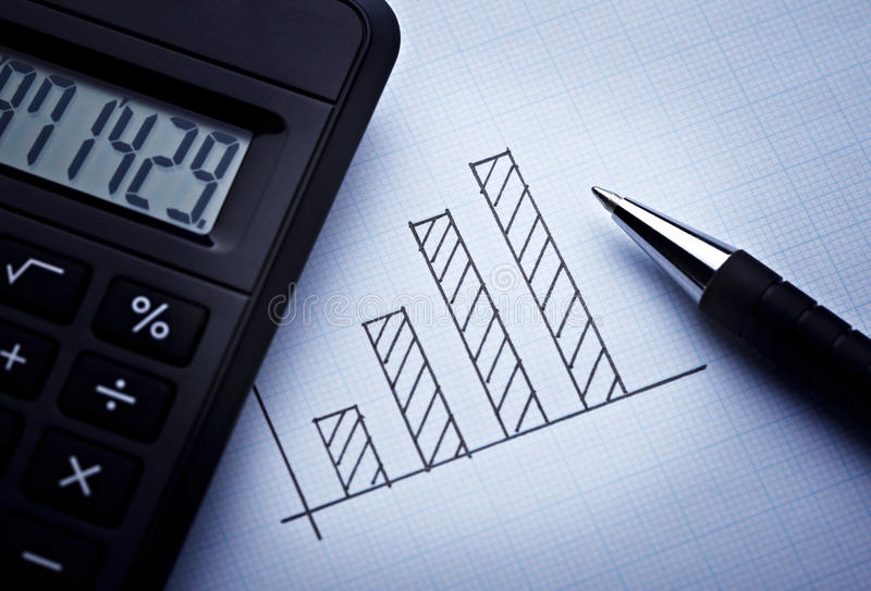 Diagram,. Close up of a finance graph on an office desk royalty free stock photography