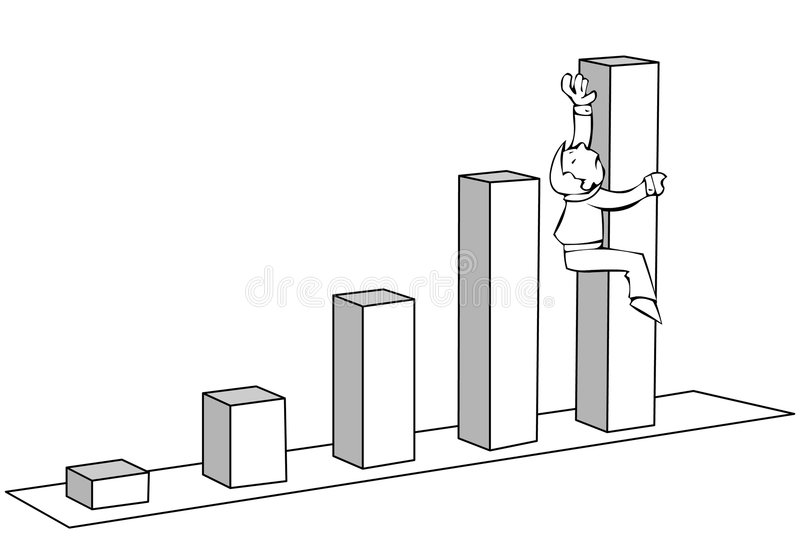 Diagram. With a businessman climbing to its top royalty free illustration