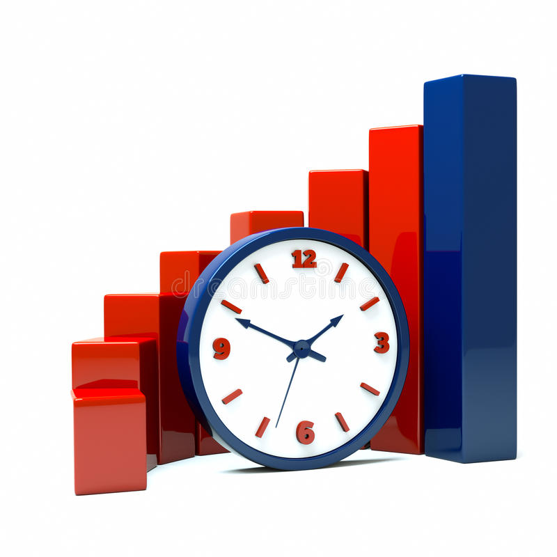 Diagram. A diagram with clock a business concept royalty free illustration
