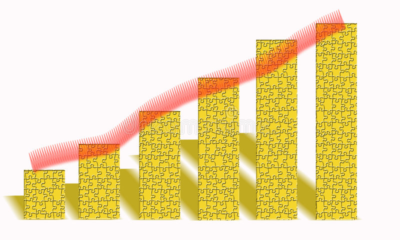 Diagram. An image showing a diagram which has a puzzle effect over the six main columns and a shadow behind with a red upward stroke over the top royalty free illustration