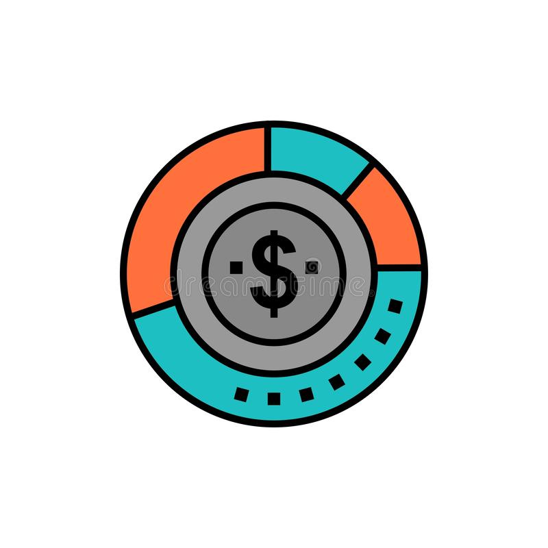 Diagram, Analysis, Budget, Chart, Finance, Financial, Report, Statistics  Flat Color Icon. Vector icon banner Template stock illustration