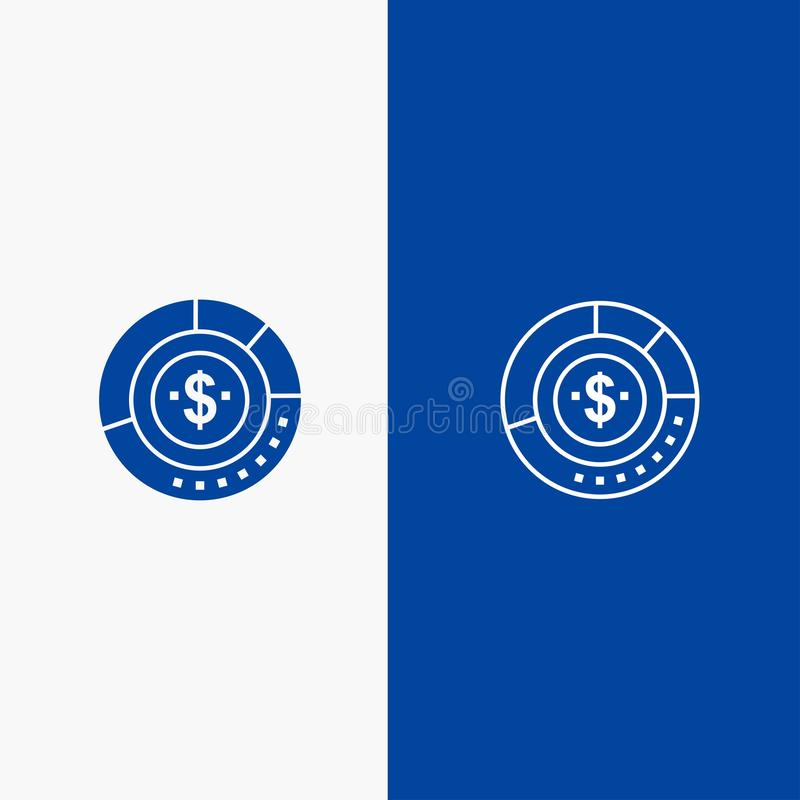 Diagram, Analysis, Budget, Chart, Finance, Financial, Report, Statistics Line and Glyph Solid icon Blue banner Line and Glyph royalty free illustration
