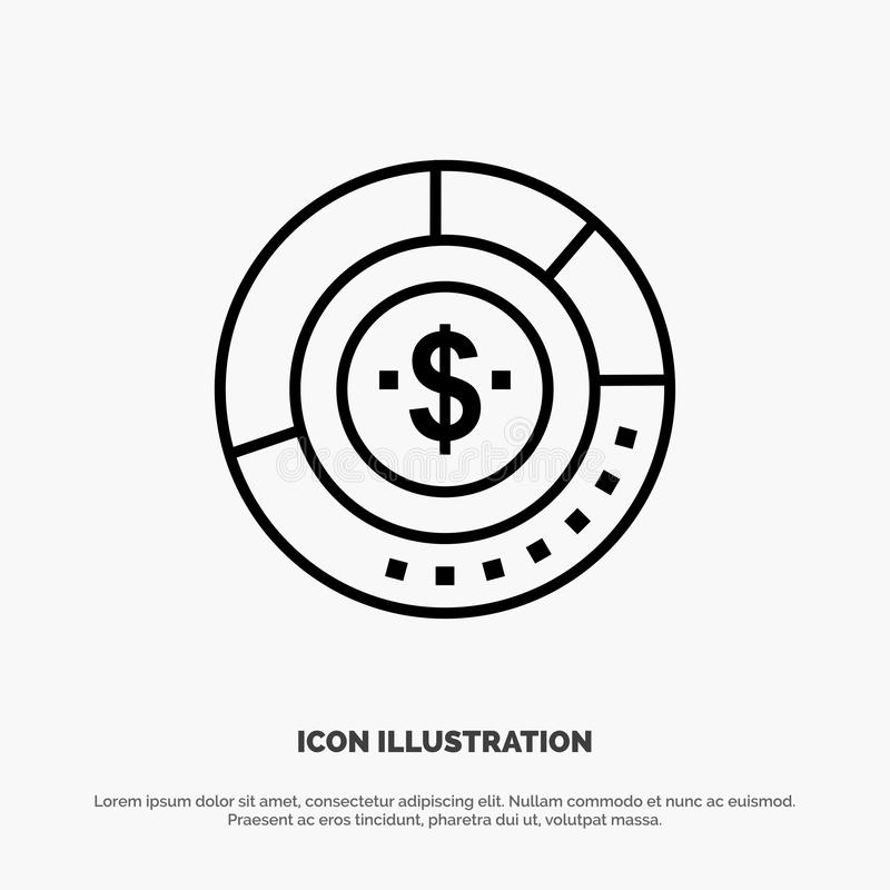 Diagram, Analysis, Budget, Chart, Finance, Financial, Report, Statistics Line Icon Vector royalty free illustration