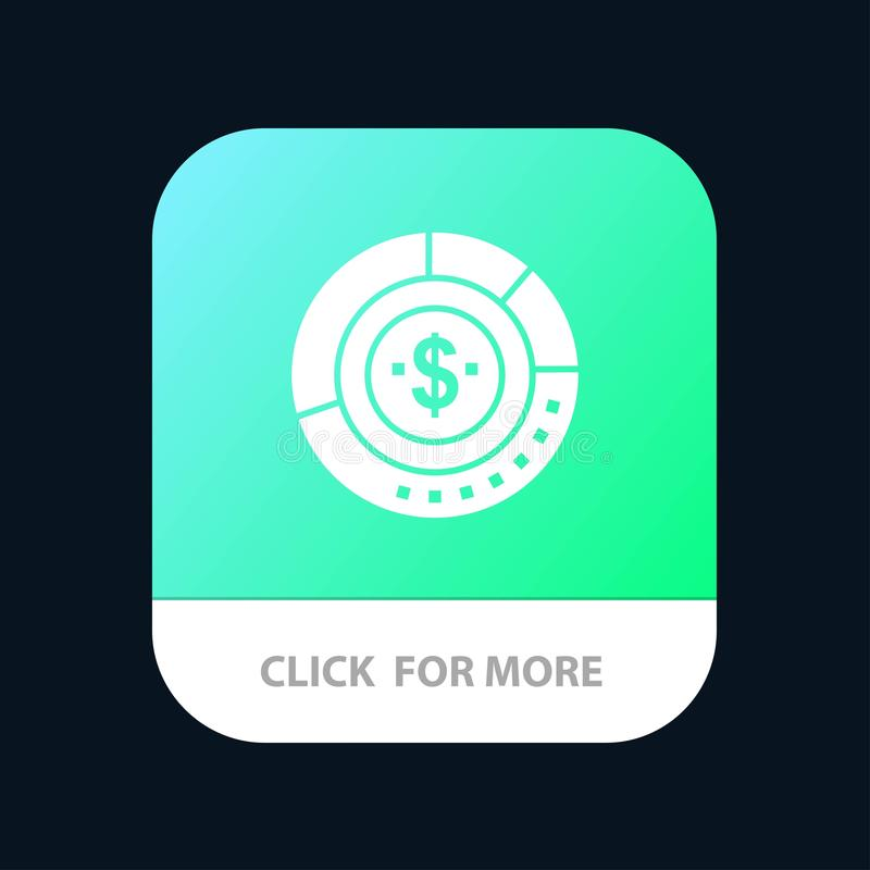 Diagram, Analysis, Budget, Chart, Finance, Financial, Report, Statistics Mobile App Button. Android and IOS Glyph Version royalty free illustration