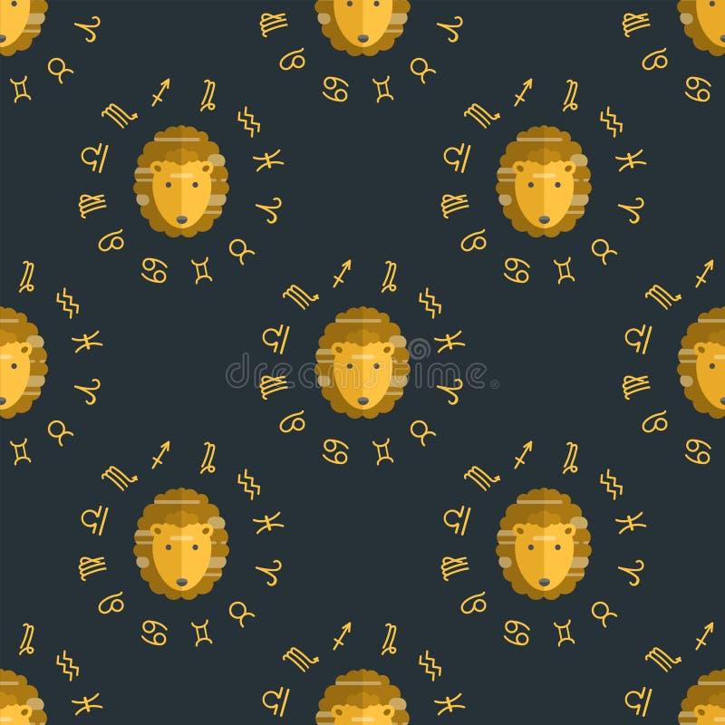 Diagram astrologisk leo för Kristi födelsevektor bakgrund för sömlös för modell för zodiaklejon stigande astrologi för horoskop royaltyfri illustrationer