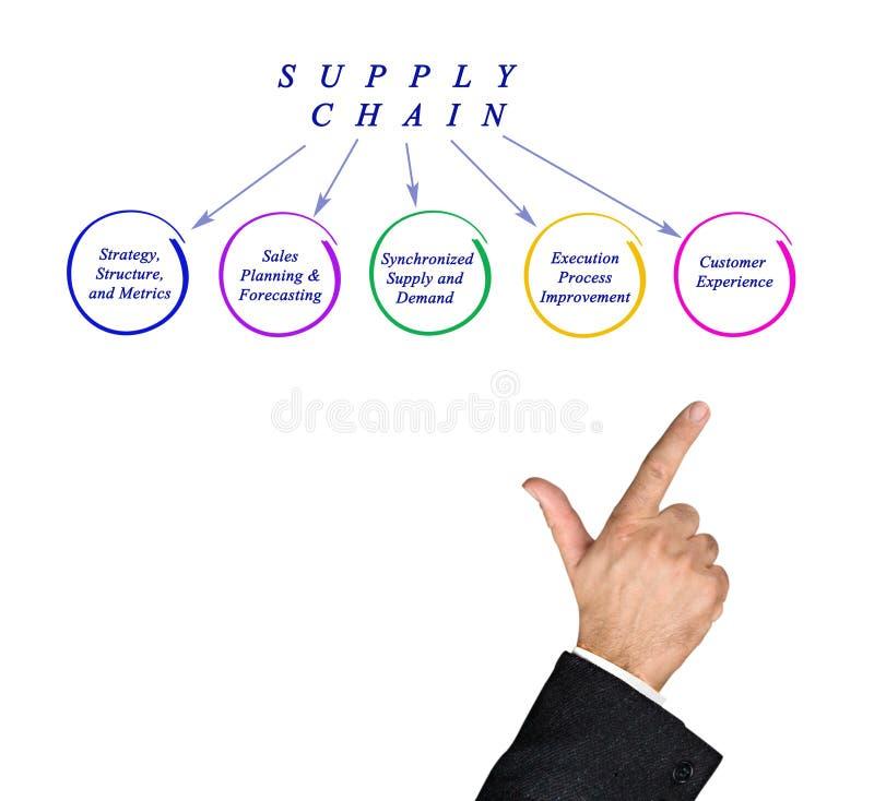 Diagram av distributionskedjan royaltyfria foton