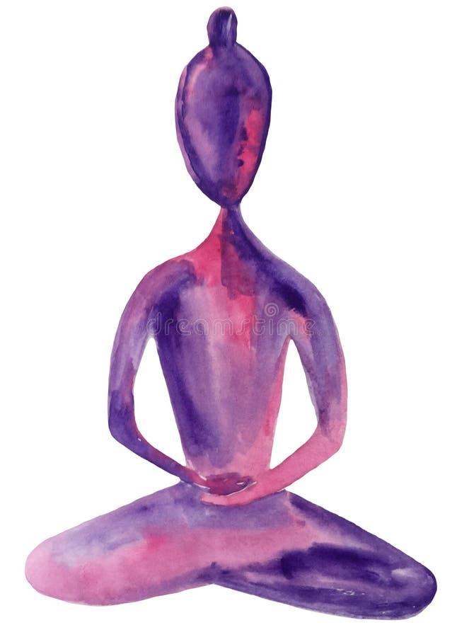 Diagram av en flicka, i meditation, sunt andas och att öppna av chakrasna abstrakt vattenfärgillustration av lila rosa färg stock illustrationer