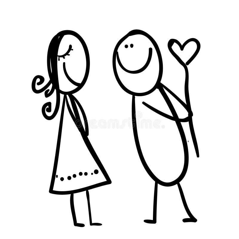 Diagram av en man som ger hjärta till kvinnan vektor illustrationer
