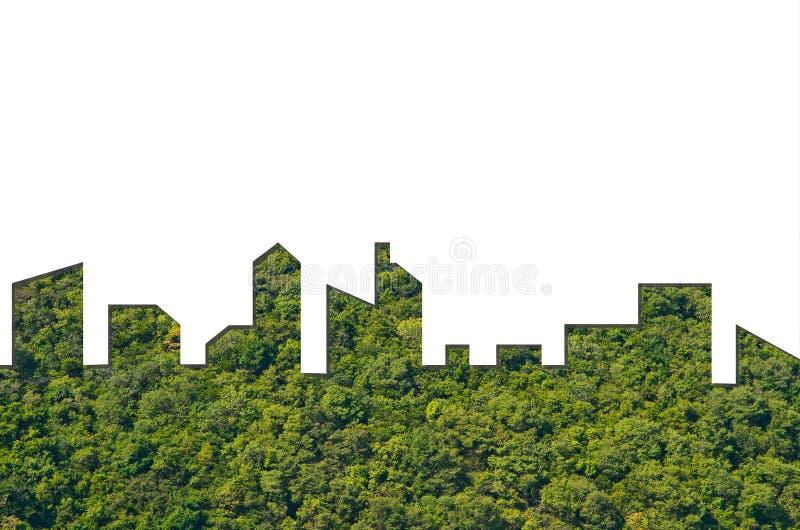 Diagram av staden Shape på skogtexturbakgrund Grön byggnadsarkitektur arkivbild