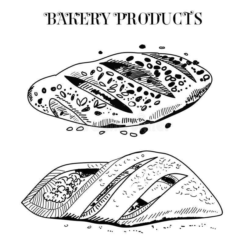 Diagram bakning vid handen i den gamla stilen Svartvit tappningillustration f?r teckningar royaltyfri illustrationer