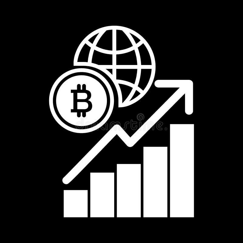 Diagram, bitcoin, bol stevig pictogram Vectordieillustratie op zwarte wordt geïsoleerd glyph stijlontwerp, voor Web wordt ontworp royalty-vrije illustratie