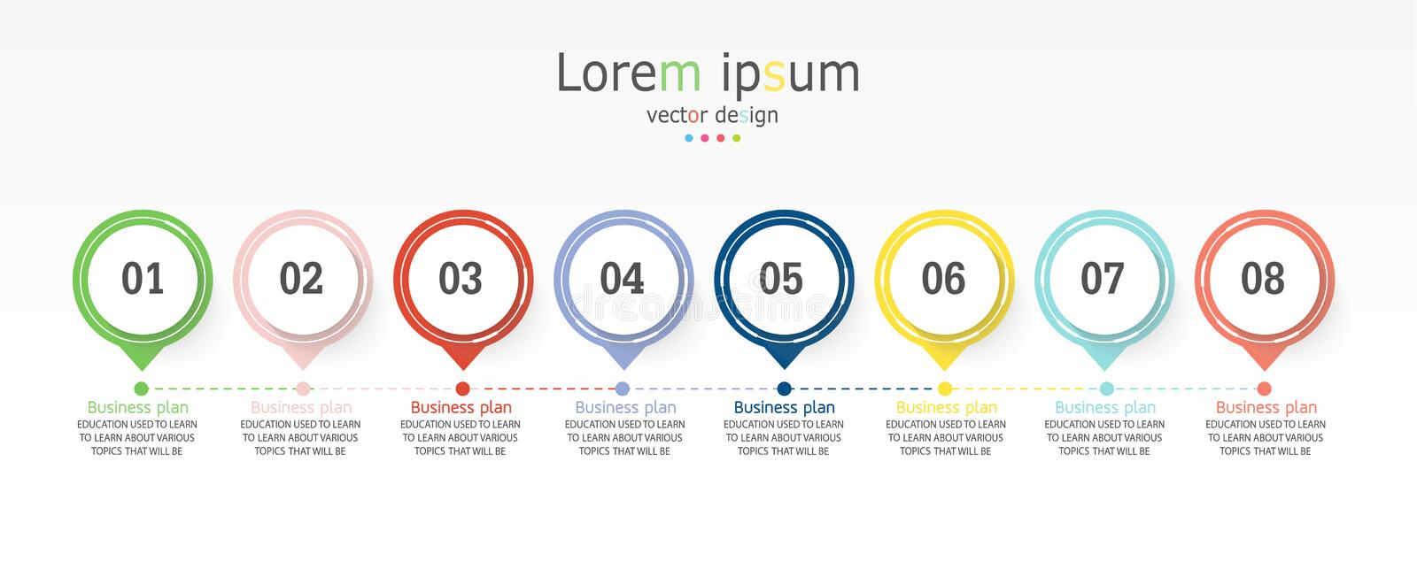 Diagram Business and Education By Step 8 step design   illustration royalty free illustration