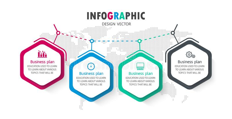 Diagram Business and Education By Step 4 Stepsdesign illustration vector illustration