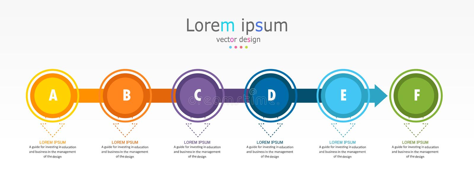 Diagram Business and Education used for process presentations layout banner info graph there are 6 step stock illustration