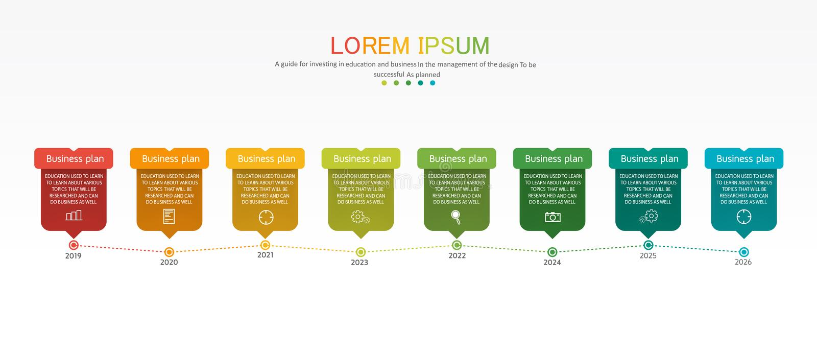 Diagram Business and Education used for process presentations layout banner info graph there are 8 steps vector illustration