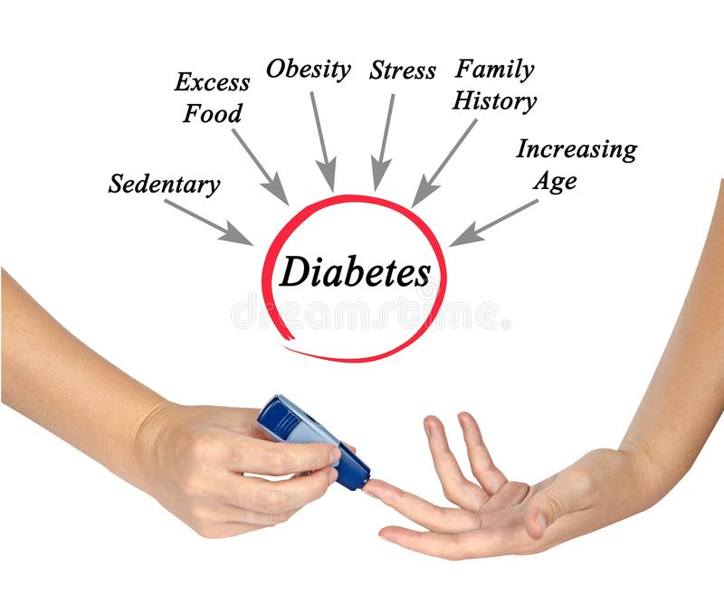 Causes of diabetes. Diagram of Causes of diabetes stock images