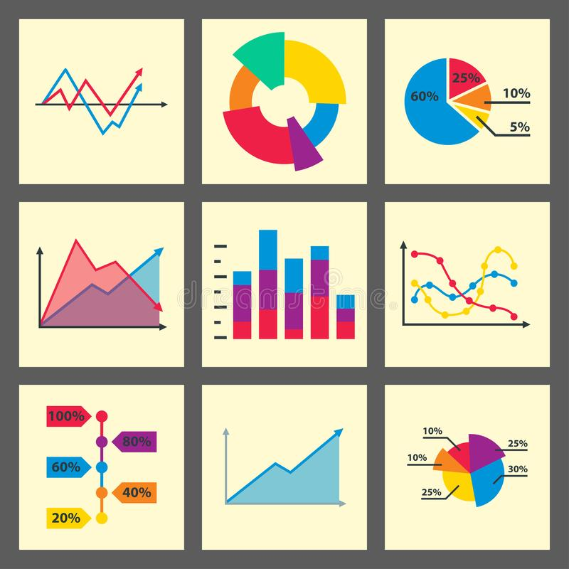 Diagram chart graph elements business infographic flow sheet data template arrows and circle progress diagrammatic. Diagram chart graph elements business royalty free illustration