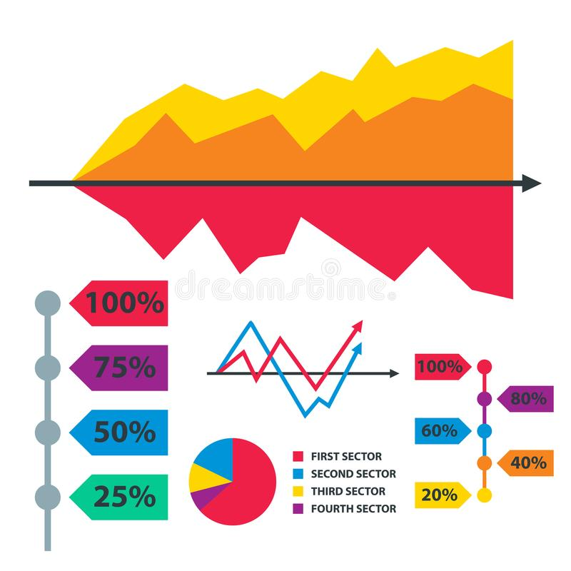 Diagram chart graph elements vector business infographic flow sheet data template arrows and circle progress. Diagram chart graph elements vector business vector illustration