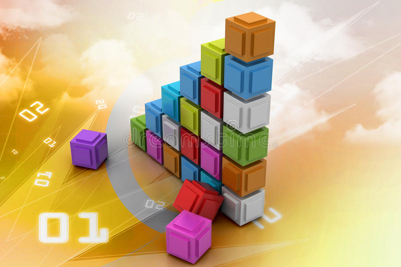 The diagram consisting of several cubes of different colours. In color background royalty free illustration