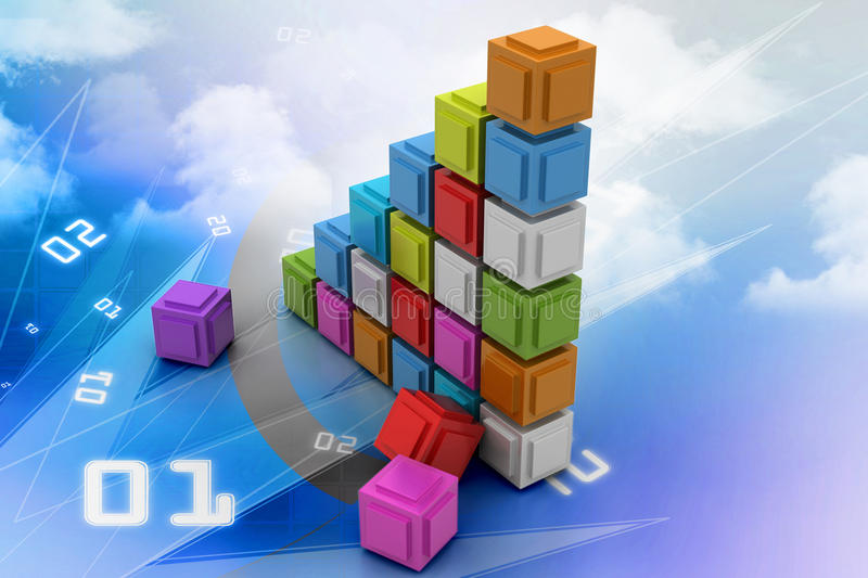 The diagram consisting of several cubes of different colours. In color background vector illustration