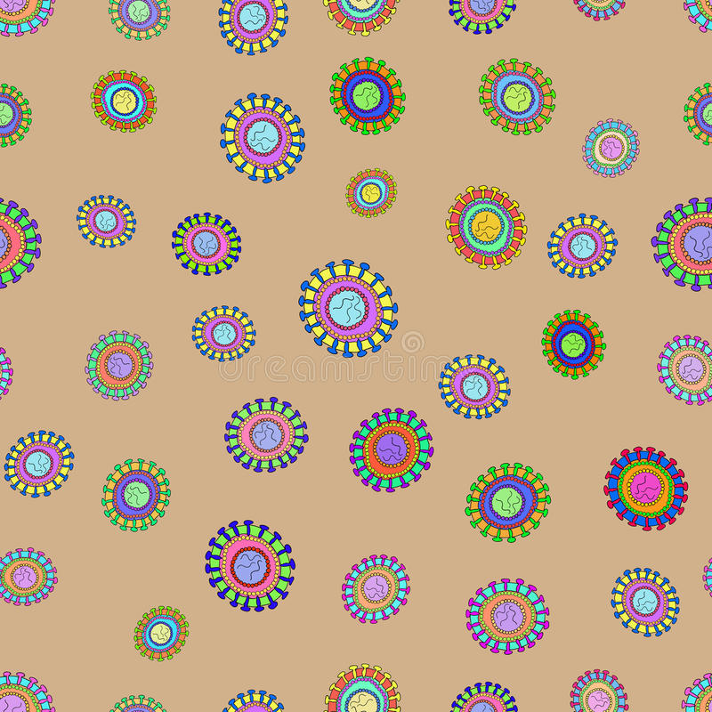 Diagram of Corona virus particle structure. Vector Pattern royalty free illustration
