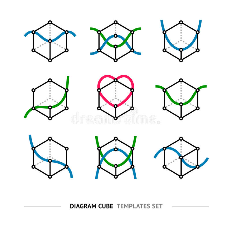 Diagram cube logo set. Geometry graph line vector icons stock illustration