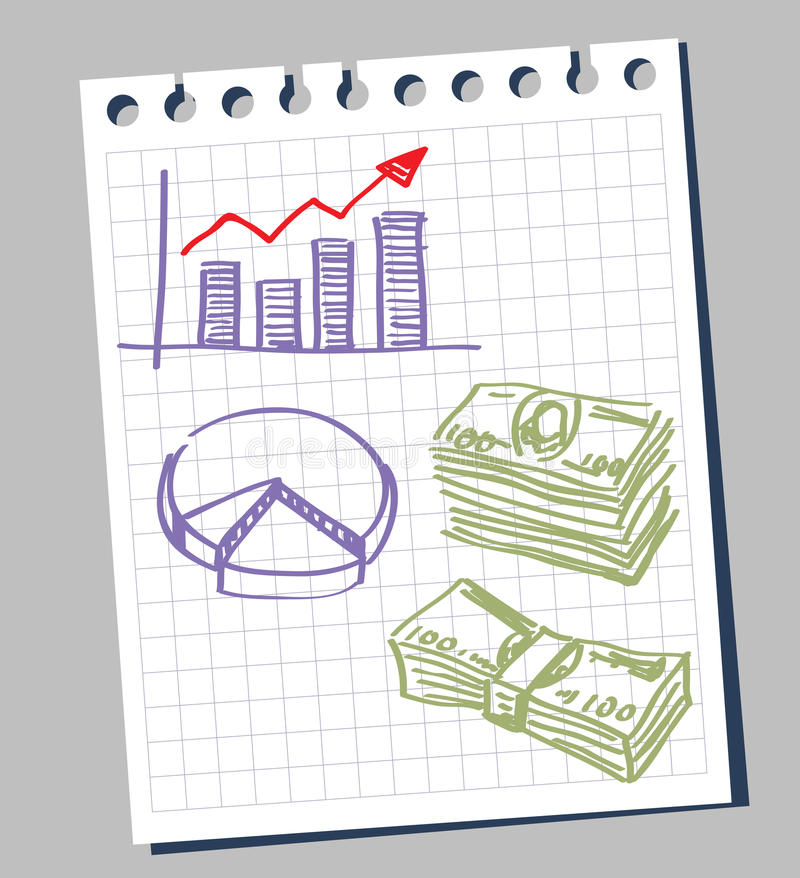 Diagram and dollars. Hand-draw arrow diagram and dollars royalty free illustration