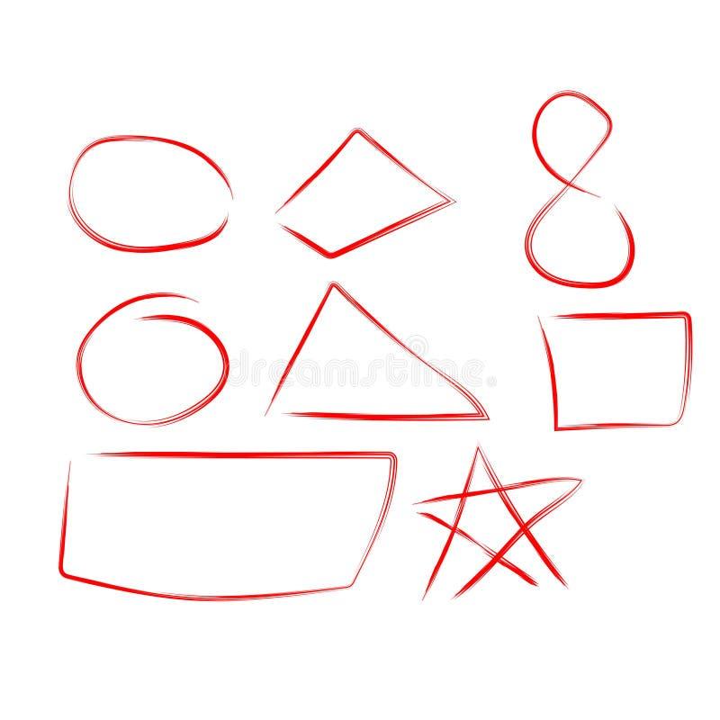 Diagram drar uppsättningen, designbeståndsdelar av att markera, den röda markören som isoleras på vit bakgrund, vektorillustratio royaltyfri illustrationer