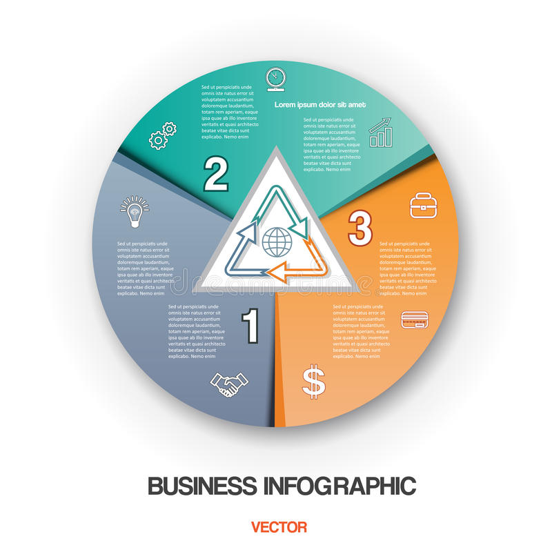 Diagram el proceso cíclico, posiciones infographic del negocio 3 stock de ilustración