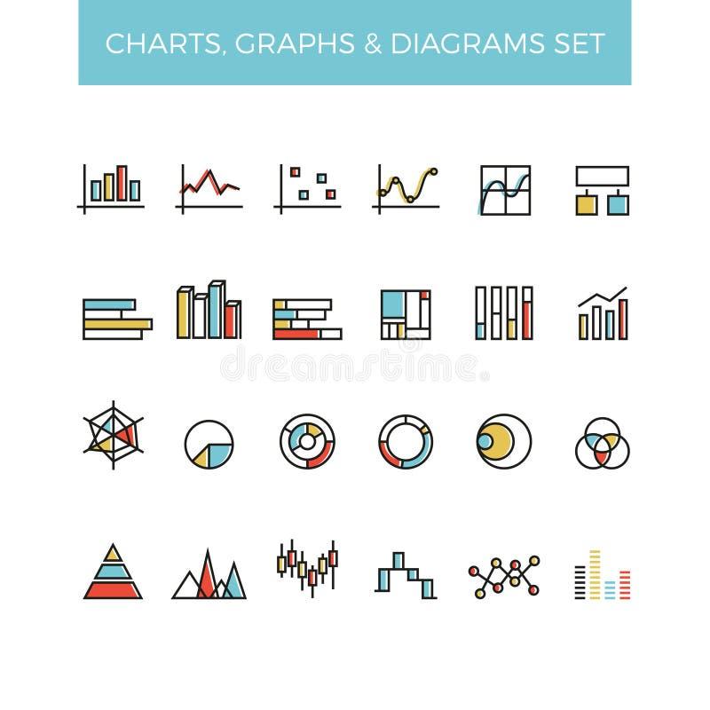 Diagram en van de grafiekenrassenbarrière vectorpictogrammen stock illustratie