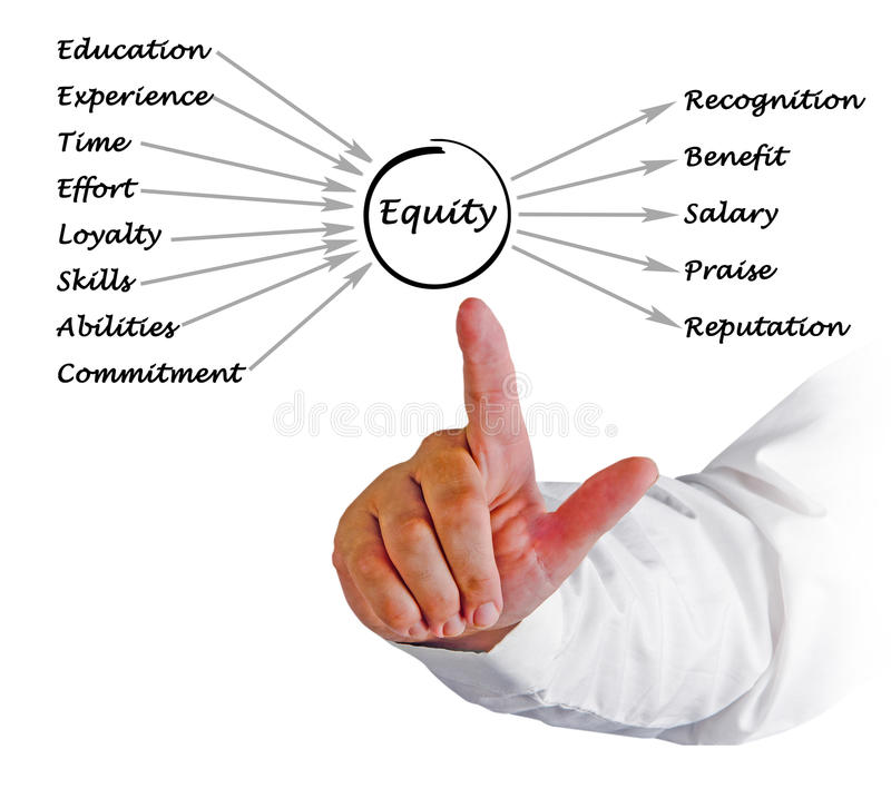 Diagram of equity. Presenting diagram of contributions to equity stock photo