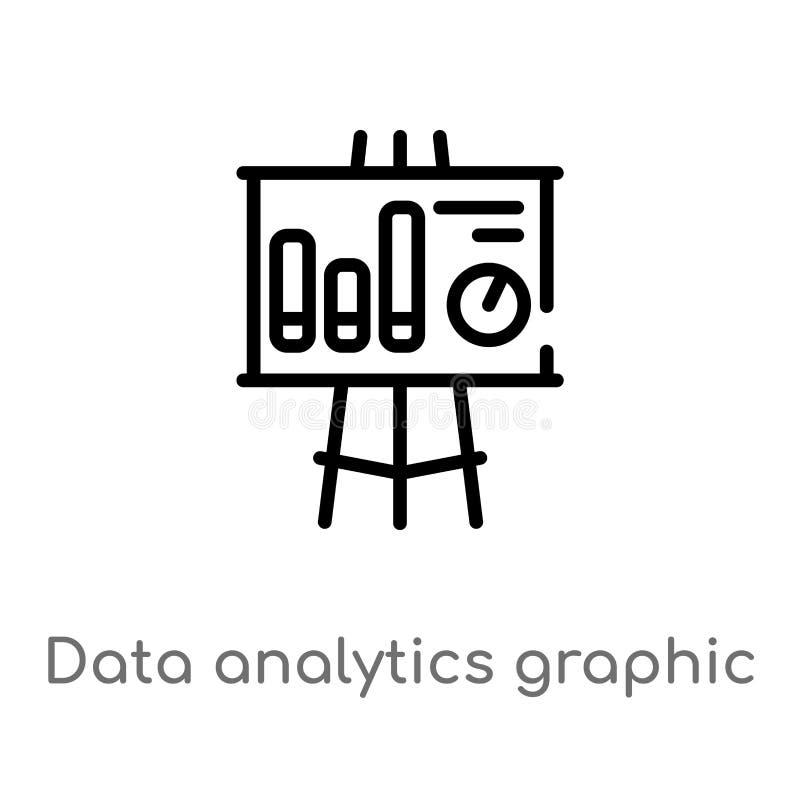 diagram för översiktsdataanalytics på en symbol för presentationsskärmvektor isolerad svart enkel linje beståndsdelillustration f vektor illustrationer
