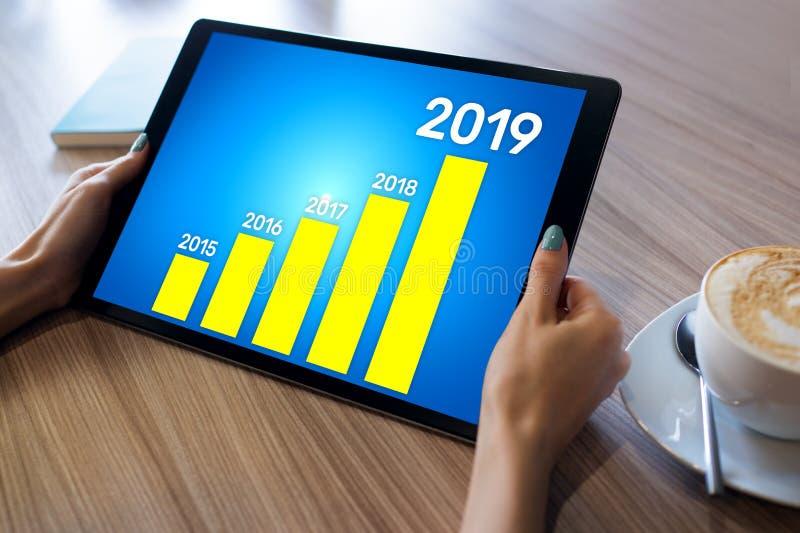 Diagram för affärsstrategi på 2019 år Finansiellt tillväxtbegrepp på skärmen royaltyfri bild